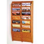 Wooden Mallet 14 Pocket Wall Mount Magazine Rack; Medium Oak