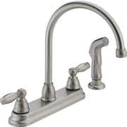 Peerless Faucets Two Handle Centerset Kitchen Faucet with Side Spray; Stainless Steel