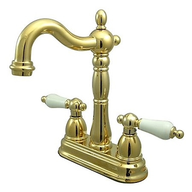 Kingston Brass Heritage Double Handle Centerset Bar Faucet; Polished Brass