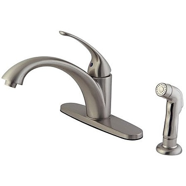 Kingston Brass Vintage Single Handle Kitchen Faucet w/ Non-Metallic Spray; Satin Nickel
