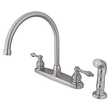 Kingston Brass Vintage Double Handle Goose Neck Kitchen Faucet w/ Non-Metallic Spray; Satin Nickel