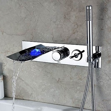 Sumerain Double Handle Wall Mount LED Waterfall Tub Faucet w/ Handshower