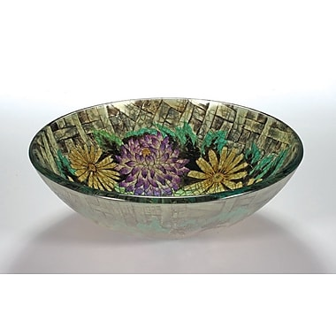 Legion Furniture Vessel Bathroom Sink; Floral in Autumn
