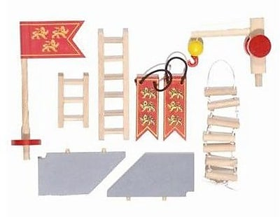 Le Toy Van Edix the Medieval Village Castle Accessories Set; Red