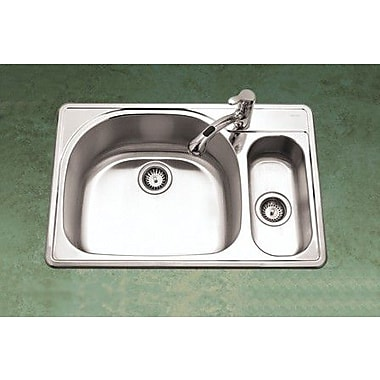 Houzer Premiere Reflection 33'' x 15.75 - 22'' Topmount Double Bowl 80/20 Kitchen Sink; Right