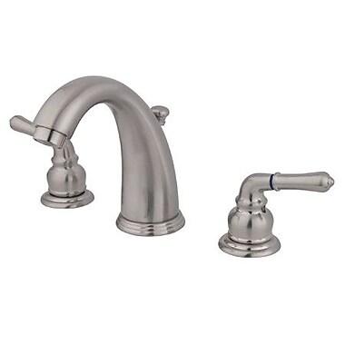 Elements of Design Widespread Bathroom Faucet w/ Double Modern Lever Handles; Satin Nickel