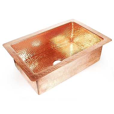 D'Vontz Copper 30'' x 22'' Hammered Single Bowl Kitchen Sink; Shiny Copper