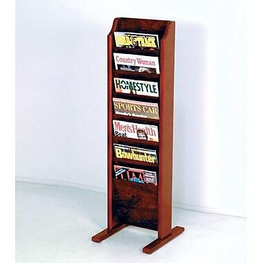 Wooden Mallet 7 Pocket Free Standing Magazine Rack; Dark Red Mahogany