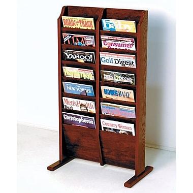 Wooden Mallet 14 Pocket Free Standing Magazine Rack; Dark Red Mahogany