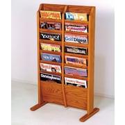 Wooden Mallet 14 Pocket Free Standing Magazine Rack; Medium Oak