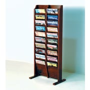 Wooden Mallet 20 Pocket Free Standing Magazine Rack; Dark Red Mahogany