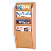 Wooden Mallet 4 Pocket Wall Mount Magazine Rack; Light Oak