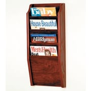 Wooden Mallet 4 Pocket Wall Mount Magazine Rack; Dark Red Mahogany
