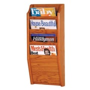 Wooden Mallet 4 Pocket Wall Mount Magazine Rack; Medium Oak