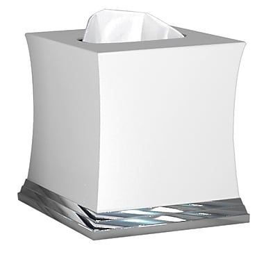 NU Steel Sag Harbor Tissue Box Cover; Chrome with White