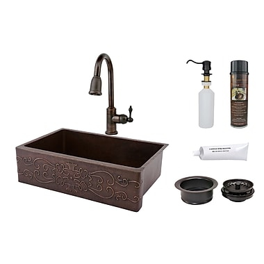 Premier Copper Products 33'' x 22'' Hammered Apron Kitchen Sink