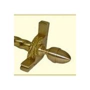 Zoroufy Dynasty 120'' Roped Tubular Stair Rod Set w/Decorative Brackets Acorn Finials; Brushed Brass