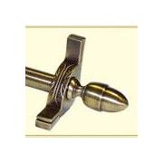 Zoroufy Dynasty 36'' Smooth Tubular Stair Rod Set w/Decorative Brackets Acorn Finials; Antique Brass