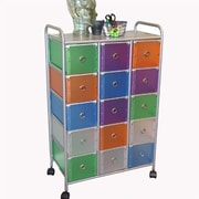 4D Concepts 15 Drawer Multi Colored Rolling Storage Tower