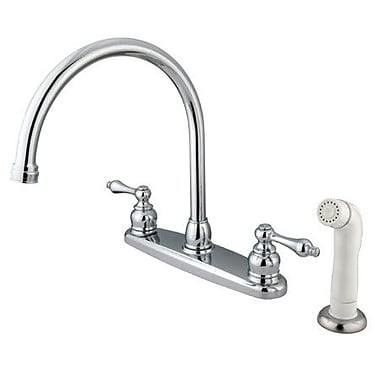 Kingston Brass Vintage Double Handle Goose Neck Kitchen Faucet w/ Spray