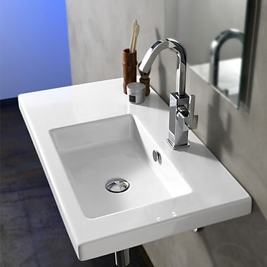 Ceramica Tecla Condal 31.5'' Rectangular Ceramic Wall Mounted Sink w/ Overflow; Single Hole