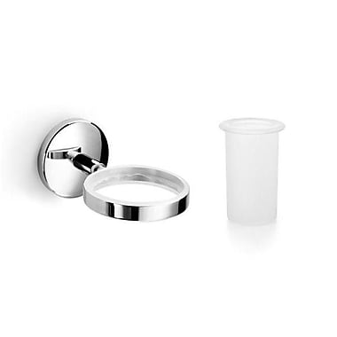 WS Bath Collections Noanta Toothbrush Holder & Tumbler; Polished Chrome / Frosted Glass