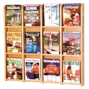 Wooden Mallet 12 Pocket Magazine Wall Display; Light Oak