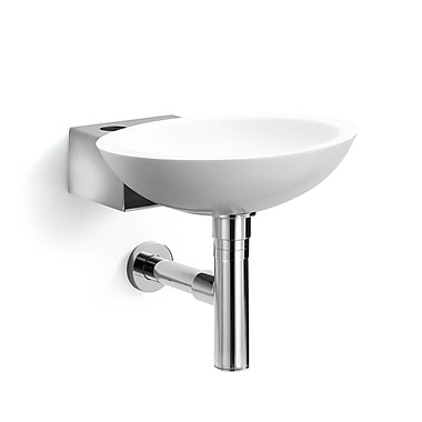 WS Bath Collections Linea Ciuci Wall Mounted Vessel Bathroom Sink; White / Stainless Steel