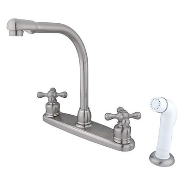 Kingston Brass Victorian Double Handle CentersetHigh Arch Kitchen Faucet w/ White Spray