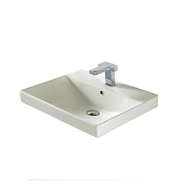 Madeli 24'' Rectangular Bathroom Sink; Biscuit Ceramic with Overflow