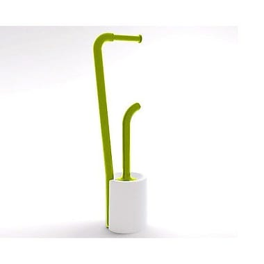 Gedy by Nameeks Wendy Bathroom Butler Free Standing Toilet Paper Holder; White and Green