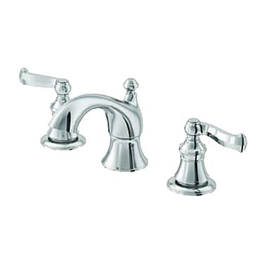 Aqueous Faucet Scroll Double Handle Widespread Bathroom Faucet; Chrome