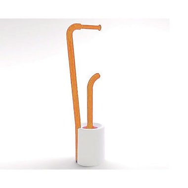 Gedy by Nameeks Wendy Bathroom Butler Free Standing Toilet Paper Holder; White and Orange