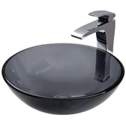 Vigo Sheer Black Glass Vessel Bathroom Sink and Blackstonian Vessel Faucet w/ Pop Up; Sheer Black