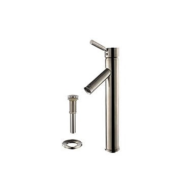 Kraus Square Aquamarine Glass Sink and Sheven Faucet; Satin Nickel