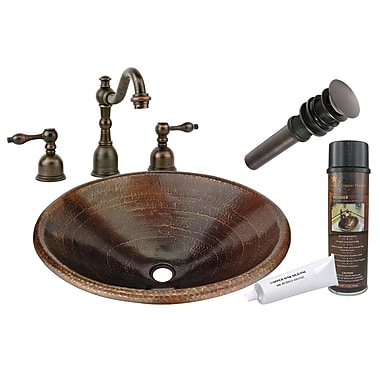 Premier Copper Products Master Bath Self Rimming Hammered Sink