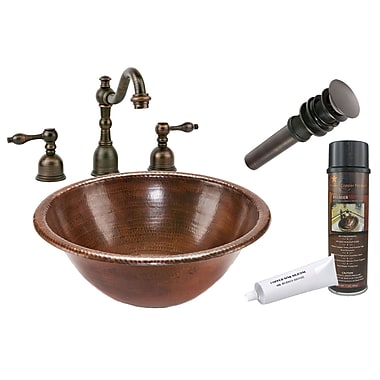 Premier Copper Products Self Rimming Hammered Bathroom Sink