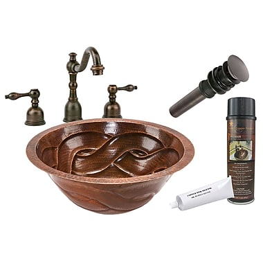 Premier Copper Products Braided Under Counter Hammered Bathroom Sink