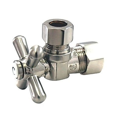 Elements of Design Decorative Quarter Turn Valves w/ Cross Handles; Satin Nickel