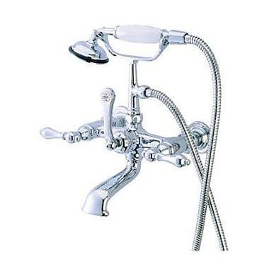 Elements of Design Hot Springs Double Handle Wall Mount Clawfoot Tub Faucet w/ Hand Shower; Chrome