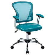 Office Star Ave Six 17.5'' Mesh Peyton Task Chair with Faux Leather Seat; Blue