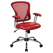 Office Star Ave Six 17.5'' Mesh Peyton Task Chair with Faux Leather Seat; Red