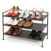 Seville Classics Resin-Wood Composite 3 Tier Utility Shoe Rack