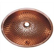 Whitehaus Collection Decorative Undermount Oval Ball Pein Bathroom Sink; Polished Copper