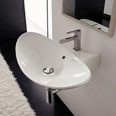 Scarabeo by Nameeks Zefiro 26.8'' Oval-Shaped Ceramic Wall Mounted Sink w/ Overflow