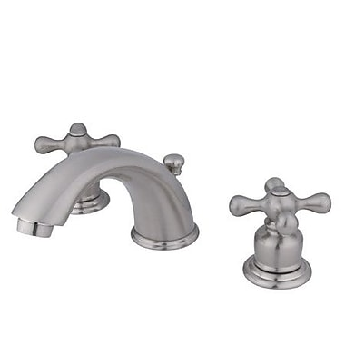 Elements of Design Magellan Widespread Bathroom Faucet w/ Double Cross Handles; Satin Nickel