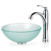 Kraus Frosted  Glass Vessel Sink and Riviera Faucet; Oil Rubbed Bronze