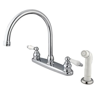 Kingston Brass Vintage Double Handle Goose Neck Kitchen Faucet w/ Sprayer; Polished Chrome