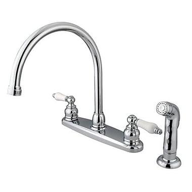 Kingston Brass Vintage Double Handle Goose Neck Kitchen Faucet w/ Spray; Polished Chrome