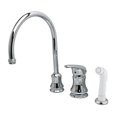 Kingston Brass Legacy Single Handle Goose Neck Kitchen Faucet w/ Non-Metallic Spray